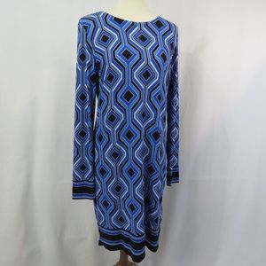 Michael Kors Long Sleeve Dress Blue Black White